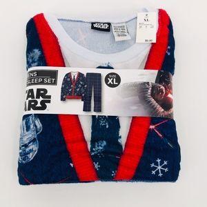⛄️ NEW 2 Pc Christmas Fleece Pajamas Star Wars XL